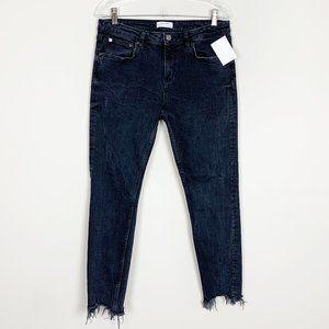 Zara | hi rise raw hem washed black skinny jeans